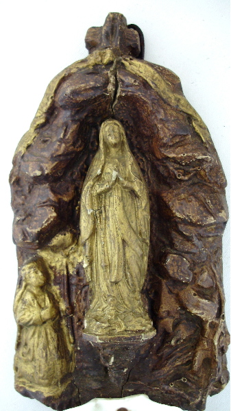 FRENCH Antique Carved Wood HOLY WATER Virgin Mary Saint Bernadette LOURDES Porcelain Shell Font-wdlou