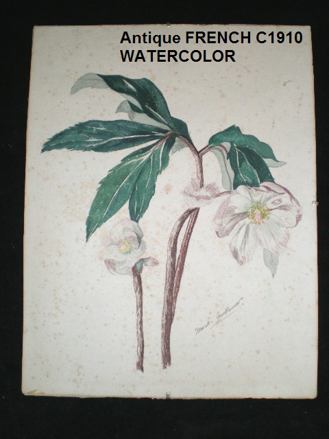 C1910 FRENCH Signed WATERCOLOR/GlassROSESM GUILLEMENT-whtwater