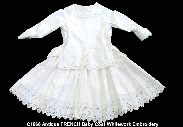 VICTORIAN Baby WHITEWORK Lace GOWN Dress OLD-xxxcoat