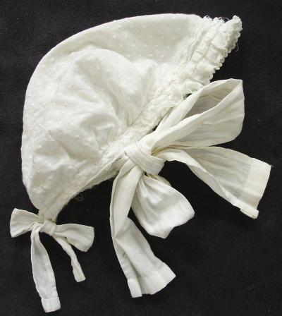 FRENCH Antique HANDMADE Ivory Size 3 6 Months Lace BABY BONNET PARIS-zzdot