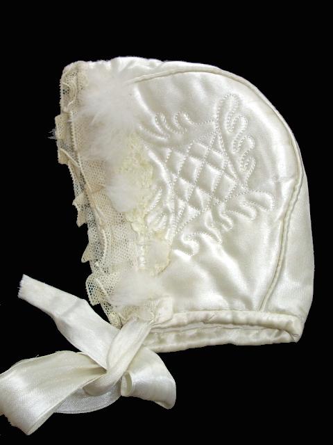 3 Months Antique French Baby Satin LACE Bonnet Vintage-zzsatinqlt